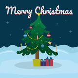 Merry Christmas lettering on snowy winter background with Christmas tree. Vector illustration for greeting card. Royalty Free Stock Images
