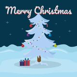 Merry Christmas lettering on snowy winter background with Christmas tree. Vector illustration for greeting card. Stock Image