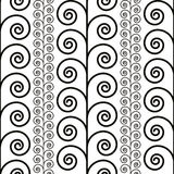 Curly floral seamless pattern, black and white vector background. Royalty Free Stock Photos