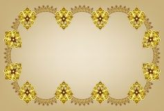 Curly frame on a beige background in oriental styl. Figured frame in shades of yellow and brown on a beige background in oriental style Royalty Free Stock Image