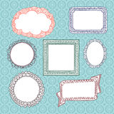 Curly frames and ornaments doodles Stock Photography