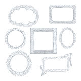 Curly frames and ornaments doodles Royalty Free Stock Image