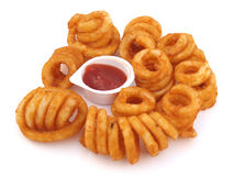 Curly Fries. Fried Spicy Curly Fries with Ketchup Stock Images