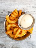 Curly fries with mayo Stock Images