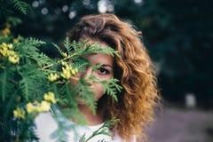 Curly girl Asya. Street shooting Royalty Free Stock Image