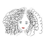 Curly girl with blue eyes stock illustration