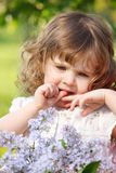 Curly girl with flowers Royalty Free Stock Photos