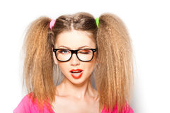 Curly girl with hipster glasses and two tails Stock Photos