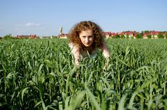 Curly girl on nature Royalty Free Stock Images