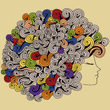 Curly girl. Profile view of the girl with beautiful curly hair. Beauty Salon. Vector illustration stock illustration