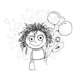 Curly girl sketch with balloons for your design Royalty Free Stock Photography