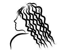 Curly girl sketch Royalty Free Stock Photos