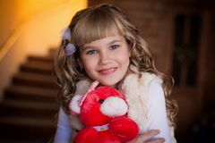 Curly  girl  with soft  toy Stock Image
