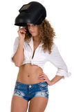 Curly girl in welder mask Royalty Free Stock Image