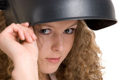 Curly girl in welder mask Stock Photography