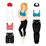 Curly girls in clothes for sport and fitness. Vector illustration of curly girls in clothes for sport and fitness isolated on white background Stock Photo