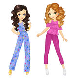 Curly Girls In Summer Clothes Royalty Free Stock Images
