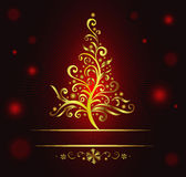 Curly gold christmas tree. Stock Photography