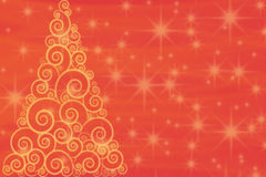 Curly golden Christmas tree on red background with Royalty Free Stock Image