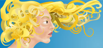 Curly hair. A beautiful woman with curly blonde hair blowing in the wind royalty free illustration