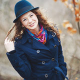 Curly hair beautiful young caucasian girl outdoors Royalty Free Stock Photography