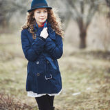 Curly hair beautiful young caucasian girl outdoors Royalty Free Stock Photo