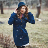 Curly hair beautiful young caucasian girl outdoors Stock Photography