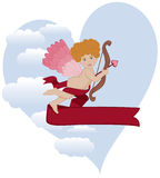 "Curly Hair Cupid. A cute curly-haired Cupid ready to sling his love arrow. Plenty of space for your copy. Cupid, wings, clouds and ""sky heart"" on separate Stock Photo"
