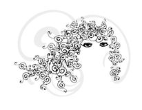 Curly Hair Girl. An illustration of a pretty girl with abstract illustrated curly hair Royalty Free Stock Photography