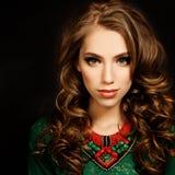 Curly Hair Girl. Beautiful Fashion Model Woman Royalty Free Stock Photo