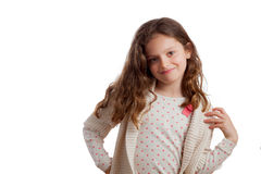 Curly Hair Girl in Polka Dots Royalty Free Stock Photography