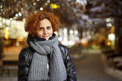 Curly hair lady outdoor, night urban scene Stock Photos