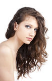 Curly hair pretty woman, close up Royalty Free Stock Images