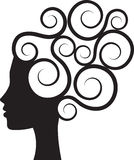 Curly hair. Silhouette of womans profile with curly hair vector illustration