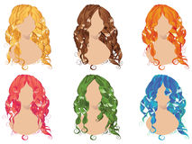 Curly Hair Styles. Set of curly hair styles in different colors Stock Image