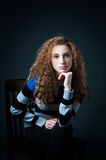 Curly hair teenager Stock Image