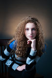 Curly hair teenager Royalty Free Stock Photos
