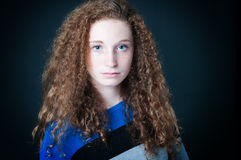 Curly hair teenager Stock Photo