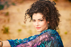 Curly hair woman Stock Images