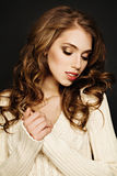 Curly Hair Woman. Beautiful Fashion Hairstyle and Makeup Stock Photos