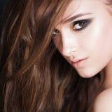Curly Hair Woman. Face Closeup Royalty Free Stock Photos