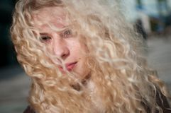 Curly hair - woman portrait Royalty Free Stock Images