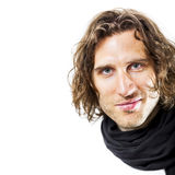 Curly hairdo. An image of a handsome man with a curly hairdo stock photos