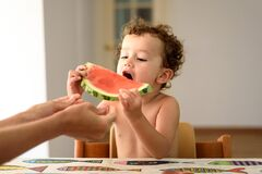 Curly-haired baby girl eats fruit sitting indoors at home in summer