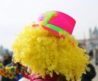 Curly-haired wig of a clown in Venice at carnival royalty free stock photo