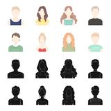 Curly-haired boy, blond, red-haired, teenager.Avatar set collection icons in black,cartoon style vector symbol stock. Illustration Royalty Free Stock Image