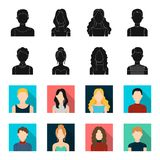 Curly-haired boy, blond, red-haired, teenager.Avatar set collection icons in black,flet style vector symbol stock. Illustration Royalty Free Stock Image