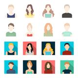 Curly-haired boy, blond, red-haired, teenager.Avatar set collection icons in cartoon,flat style vector symbol stock. Illustration Stock Photography