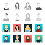 Curly-haired boy, blond, red-haired, teenager.Avatar set collection icons in monochrome,flat style vector symbol stock. Illustration Royalty Free Stock Photos