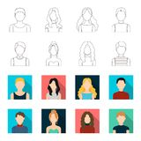 Curly-haired boy, blond, red-haired, teenager.Avatar set collection icons in outline,flet style vector symbol stock. Illustration Stock Image